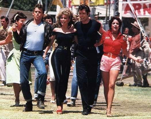 GREASE, Jeff Conaway, Olivia Newton-John, John Travolta, Stockard Channing, 1978, fair