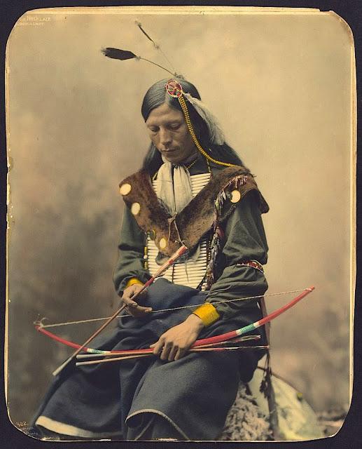Bone Necklace. Oglala Lakota Chief. 1899. Photo by Heyn Photo. Source - Library of Congress.