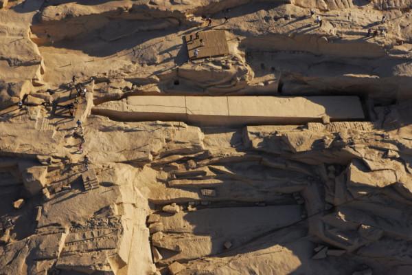 Broken obelisk in an archaeological park inside Aswan city. source