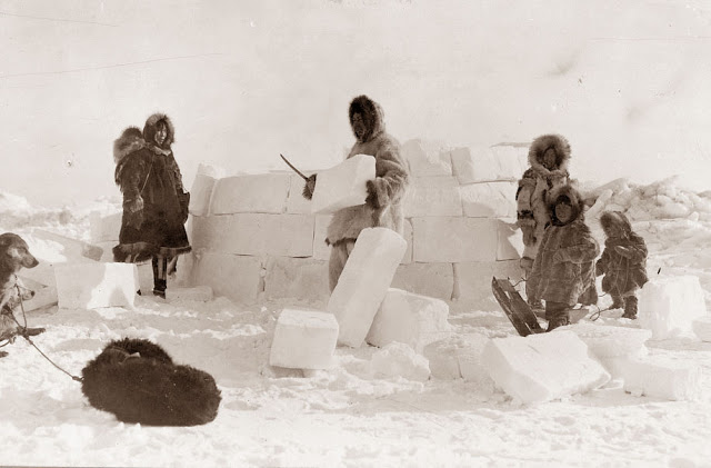 An Eskimo Family building an igloo, 1924. Library of COngres