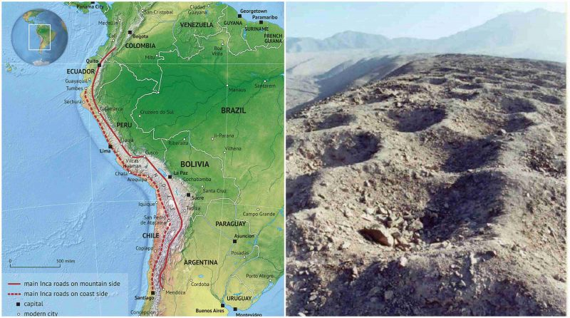 The unexplained Band of Holes in Pisco Valley, Peru on vitcos map, inca geography, inca calendar, inca empire, inca ayllu system, inca society, inca roads diagram, kuelap map, interactive inca map, kotosh map, inca mail system, inca roads and bridges, inca machu picchu map, inca quipu writing, maya civilization map, inca territory map, inca territorie, inca route, inca number system, the incas map,