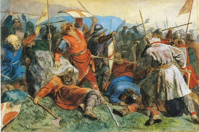 Arbo-St. Olaf fall in the battle of Stiklestad Viking Berserker