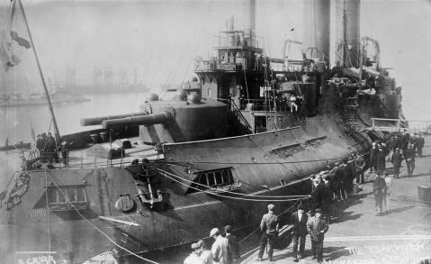 Russian battleship Tsesarevich, a pre-dreadnought battleship of the Imperial Russian Navy, docked Krondsdat, ca. 1915. Note dark wartime scheme Photo Credit