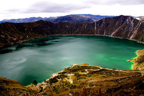 Panorama of the lake-filled Quilotoa caldera. Photo Credit