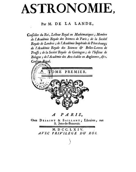 "Lalande's ""Astronomy"" - Interior Cover, 1764"