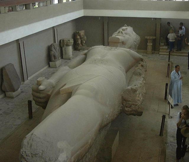 Giant statue of Ramesses II in Memphis.