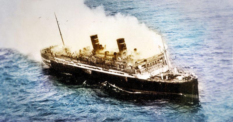 SS Morro Castle burning at sea