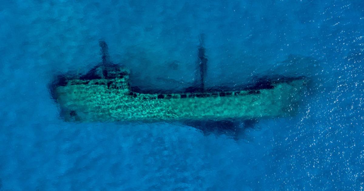 Shipwreck visible from the air over Lake Michigan.