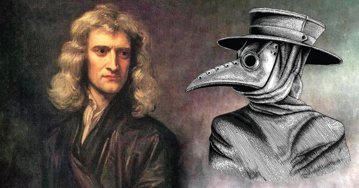 Isaac Newton and a Plague doctor