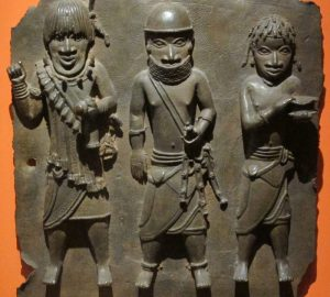 A Benin Bronze depicting three Benin warriors
