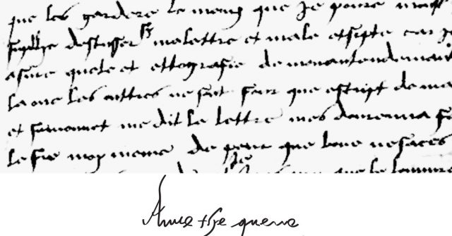 Anne Boleyn's handwriting and signature