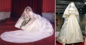 Princess Diana's iconic dress, worn and on display.