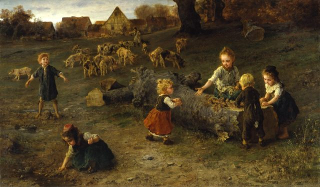 Painting of children making dirt pies. (Photo Credit: Walters Art Museum / Wikimedia Commons)