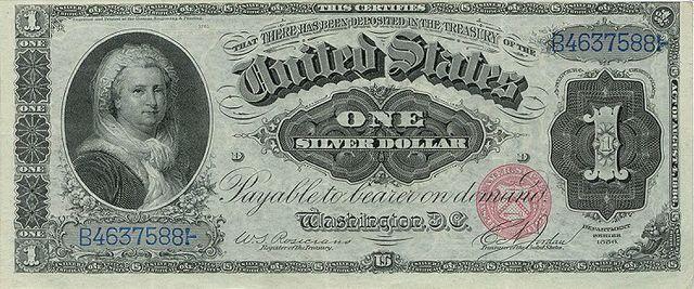 Martha Washington one silver dollar banknote from 1886