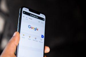 phone screen showing google homepage