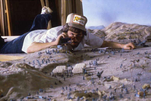 "Director Steven Spielberg on the set of ""Indiana Jones: Raiders of the Lost Ark""."