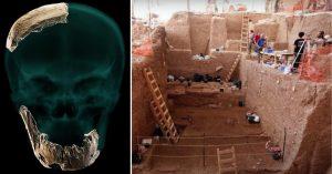 Skull fragments + excavation site