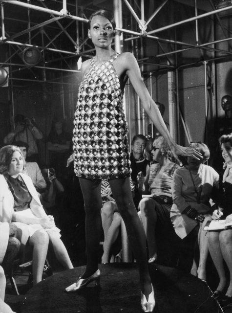 Model wearing a minidress by Paco Rabanne