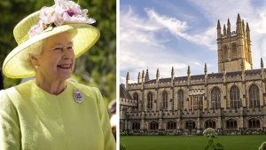 Queen Elizabeth in 2007 + Magdalen College at Oxford University