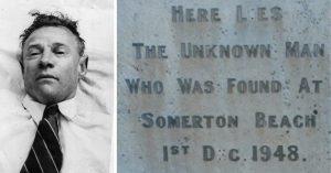 Post-mortem of the Somerton Man + his grave stone