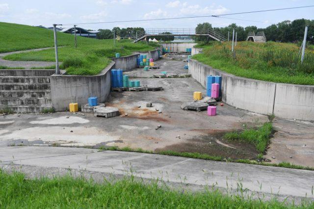 Empty manmade cement waterway