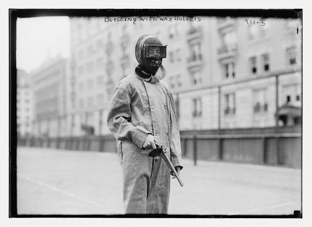 dueller in uniform, using wax bullets