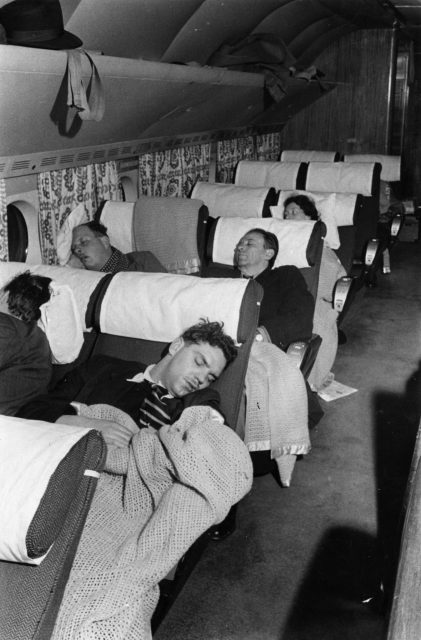 Passengers asleep in the air