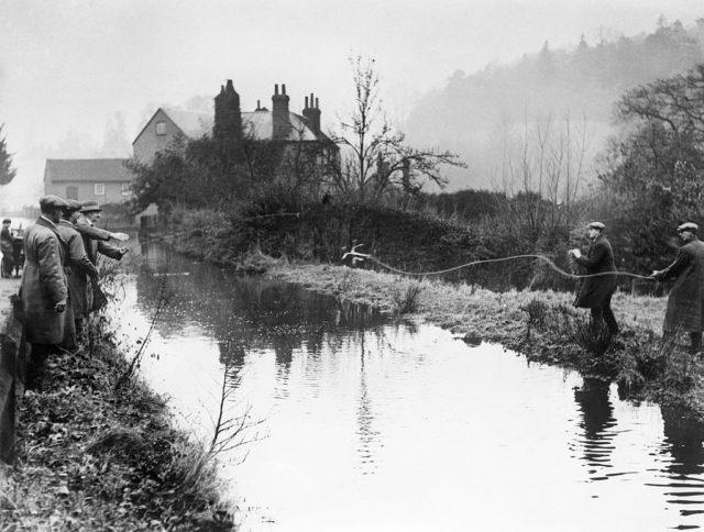 Policemen standing along a pond
