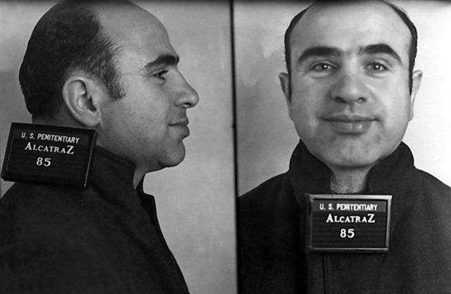 Al Capone's mugshot upon entering Alcatraz