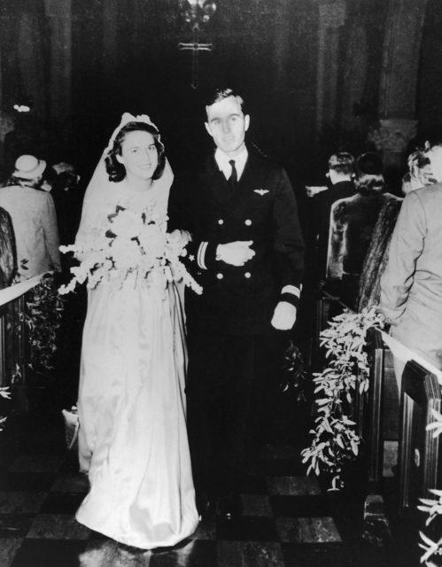 Barbara Bush on her wedding day