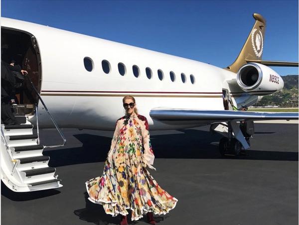 Celine Dion boarding her private jet