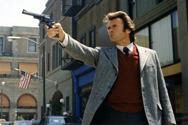 Inspector Harry Callahan holding out his gun