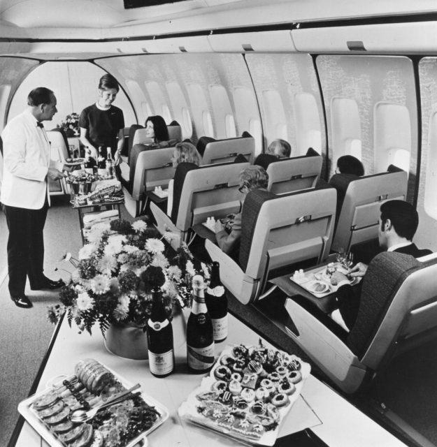 First class passengers on a Boeing 747 Jumbo Jet