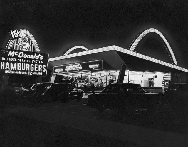 Exterior of a McDonald's restaurant at night