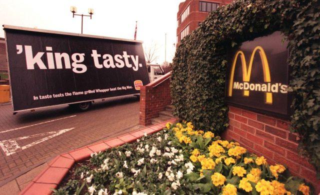 Burger King advertisement across from McDonalds