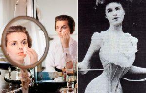 Woman applying makeup in a mirror + woman cinching her corset