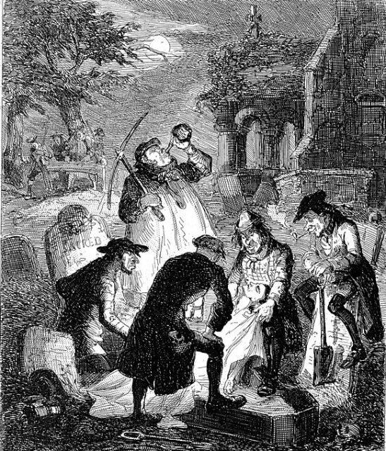 Resurrectionists bent over a grave