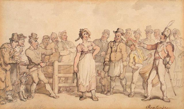Victorian woman standing amongst a crowd of men