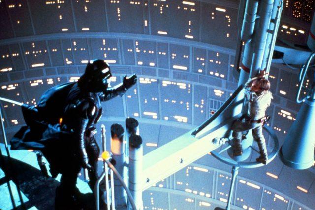 Darth Vader reaching out to Luke Skywalker