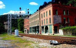 Buildings along railroad tracks