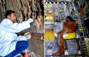 Archaeologist examining hieroglyphics + Hieroglyphics on the wall