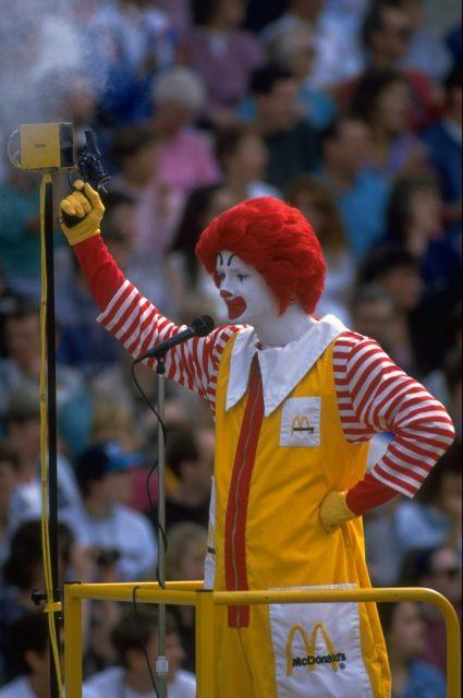 Starter dressed as Ronald McDonald