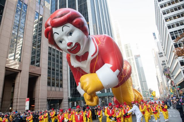 Ronald McDonald balloon at the Macy's Day Parade